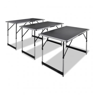 Tables pliantes  Table à coller 3 pcs pliable Hauteur réglable