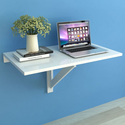 Tables pliantes  Table murale rabattable 100 x 60 cm Blanc