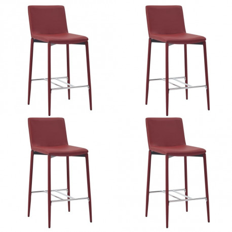 Tabourets de bar  Chaises de bar 4 pcs Rouge bordeaux Similicuir