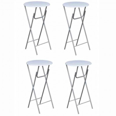 Tables pliantes  Table de bar 4 pcs avec dessus de table en MDF Blanc