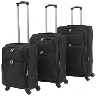 Valises  Ensemble de valises souples 3 pcs Noir