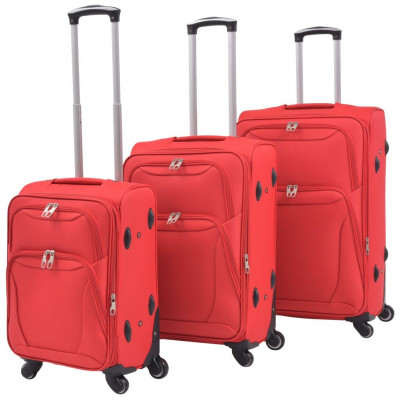Valises  Jeu de valises souples 3 pcs Rouge