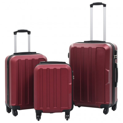 Valises  Valise rigide 3 pcs Rouge bordeaux ABS