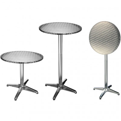 Tables de jardin HI Table de bistro-bar pliable Aluminium Rond 60 x 60 x (58-115) cm