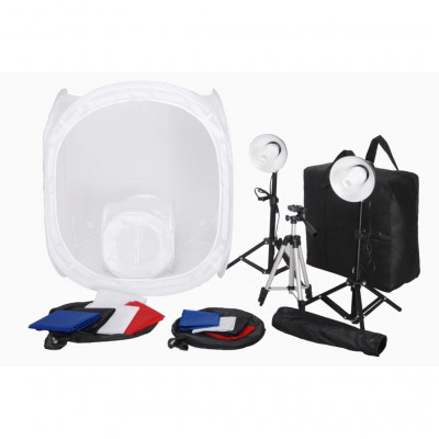 Lampes studio & flashs Kit 2 Mini studio photo 2 lampes 45W 2 trépieds 8 fonds