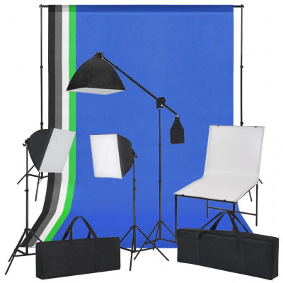 Lampes studio & flashs Kit de photo avec table de photo, lumières et toiles de fond